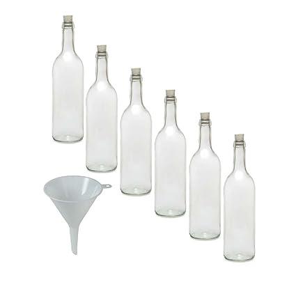 Viva Haushaltswaren Juego de botellas de cristal (6 unidades, con tapón de corcho,