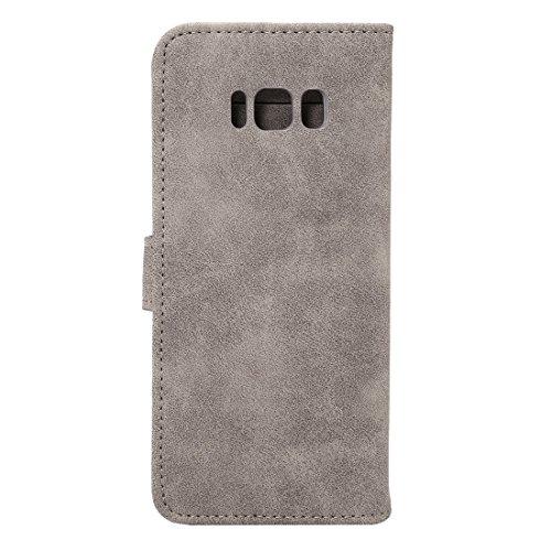 Sheep Bar Material Horizontal Flip caja de cuero con el titular y ranuras para tarjetas y marco de la carpeta y de la foto para Samsung Galaxy S8 by diebelleu ( Color : Dark blue ) Grey