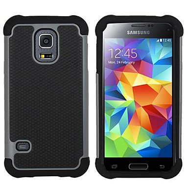 Hybrid Rugged Rubber Silicon+PC Shockproof 2 In 1 Hard Cover Cases For Samsung Galaxy S3 Mini/S4 Mini/S5 Mini/S5 Active ( Color : Gray , Compatible Models : Galaxy S5 Mini )