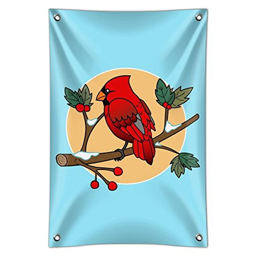 Red Cardinal on Snowy Holly Branch Home Business Office Sign - Vinyl Banner - 22