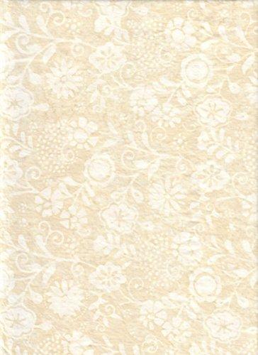 Marcus Fabrics ~ Primo Batiks Fabric ~ Neutral Cornsilk Floral Batik ~ HALF YARD!! ~ White Flowers Stamped on Cream Background Batik Quilt Fabric 100% Cotton 45