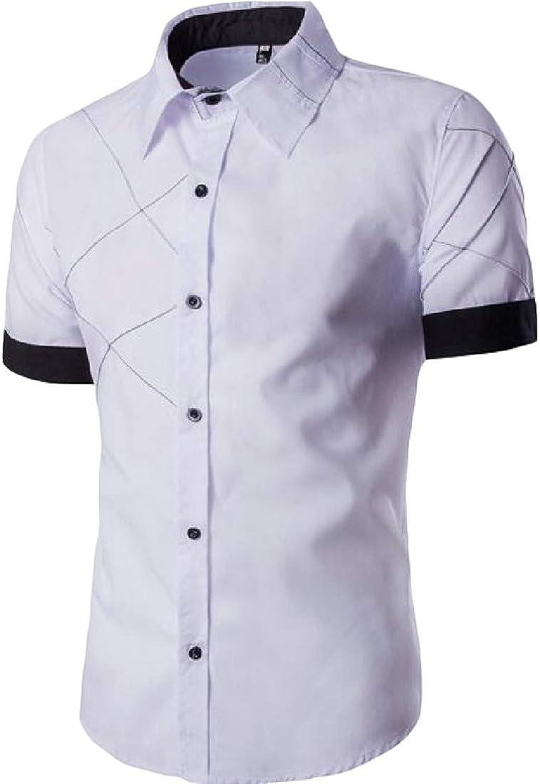 Etecredpow Men Vogue Lapel Contrast Colors Slim Pleated Short Sleeve Shirts