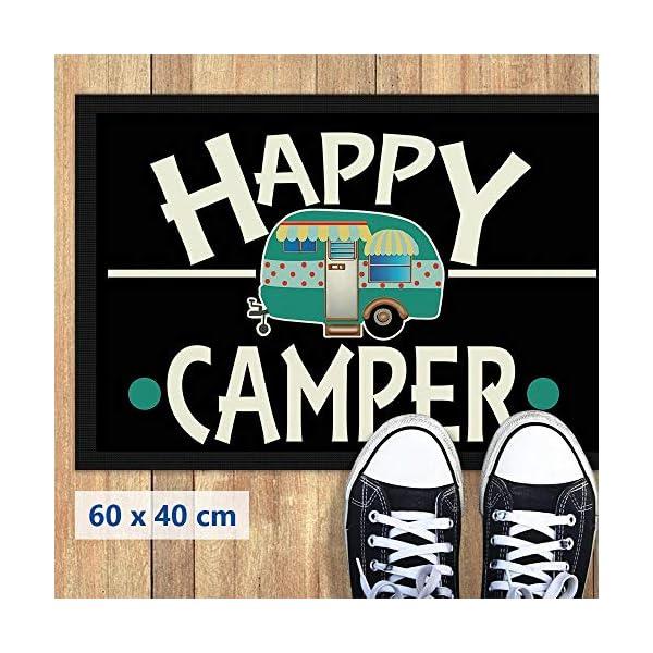 51Dy36INSfL Print Royal Camping Fußmatte mit lustigem Spruch - Happy Camper - Geschenkidee / Camping Zubehör / Campingmatte…