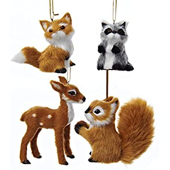 ksa club pack of 12 fox raccoon reindeer and squirrel plush woodland animal christmas - Animal Christmas Decorations