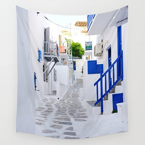 Mykonos Whitewashed Buildings Greece Wall Hanging Wall Tapestry Large Living Room Wall Art College Dorm Room - Whitewashed Buildings