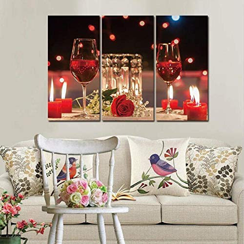 woplmh 3 Piece Modern Fashion Canvas Paintings Red Wine Cup Bottle Wall Art Painting Set Bar Dining Room Kitchen Decor Pictures No Frame 40x80cmx3pcs