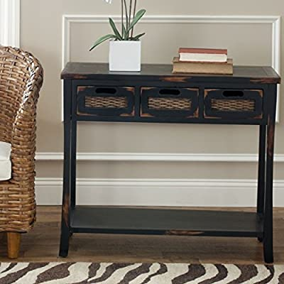 Safavieh American Homes Collection Autumn Distressed Black 3-Drawer Console Table - The distressed black finish of this console table will add a timeless accent to your décor This table features three drawers measuring 9.1 inches wide by 13 inches deep by 4.7 inches high each. Crafted of solid pine wood - living-room-furniture, living-room, console-tables - 51Dy3hdf zL. SS400  -