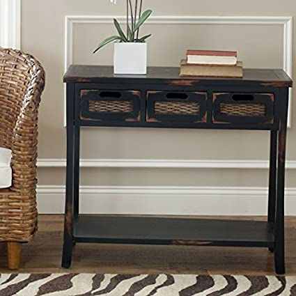 Exceptionnel Safavieh American Homes Collection Autumn Distressed Black 3 Drawer Console  Table