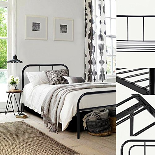 GreenForest Twin Size Bed Frame with Headboard and Stable Metal Slats Boxspring Replacement Single Platform Mattress Base,Black