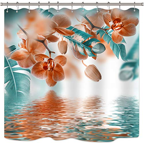 (Riyidecor Teal and Orange Orchid Shower Curtain Reflection Floral Tropical Flower Leaf Painting Zen Decor Fabric Set Polyester Waterproof 72x72 Inch 12 Pack Plastic Hooks)