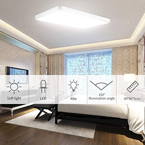 Viugreum LED Flush Mount Ceiling Light, 48W 2880 Lumens Square Panel Light, 6000K (Daylight White) Downlights Lighting Fixture for Kitchen, Hallway, Bathroom, Stairwell by Viugreum (Image #6)