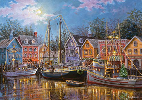 Ravensburger Ships Aglow Large Format 500 Piece Jigsaw Puzzle for Adults - Every Piece is Unique, Softclick Technology Means Pieces Fit Together Perfectly