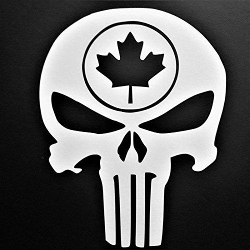 Chase Grace Studio Punisher Maple Leaf Vinyl Decal Sticker|WHITE|Cars Trucks Vans SUV Laptops Walls Glass Metal|5.5