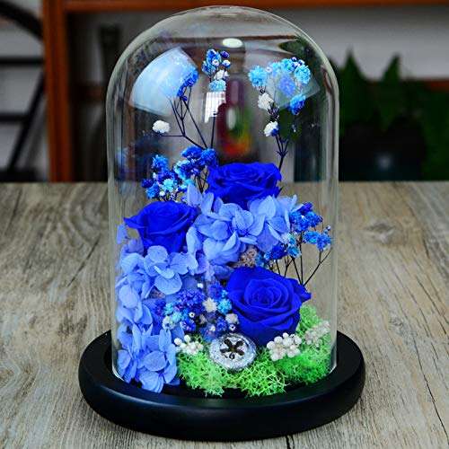 JYJSYMMG 永遠の生活 ガラスカバー プリザーブドフラワー 1420cm ローズウェディング 記念日 バレンタインデー 母の友人 最高のギフト ブルー 9648257178588 B07H5JKDTY ブルー