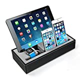 2 in 1 Bamboo iWatch Stand Ocr TM Premium Wood Cell Phone Multi-Charging Bracket Docking Station Cradle for Both 38mm and 42mm Holder for iPhone (Multi Stand)