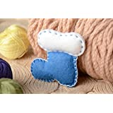 Handmade Small Soft Toy In The Shape Of Bootie Sewn Of Blue And White Felt