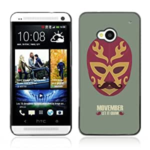 Designer Depo Hard Protection Case for HTC One M7 / Cool Movember Mexican Mask