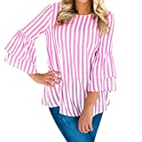 Gyoume Clearance Sale Women Tops Strip Blouse Flare Sleeve Sweatshirts Casual Blouse Outwears
