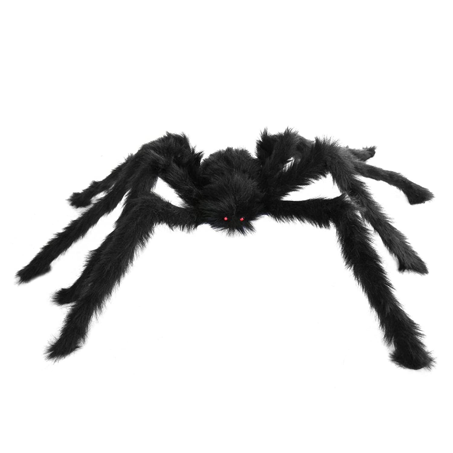 amazoncom seasonstrading large hairy poseable black spider halloween large spider decoration prop clothing - Halloween Spider