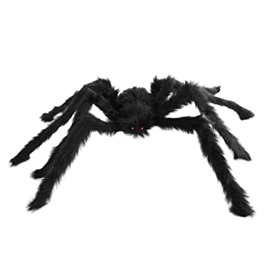seasonstrading large hairy poseable black spider halloween large spider decoration prop - Halloween Spider Decoration