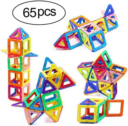 Ranphykx Magnetic Blocks, 65 Piece Magnetic Building Blocks Set Magnetic Tiles Educational Toys for Kids