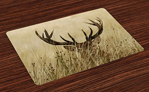 Theme Placemats (Antler Place Mats Set of 4 by Lunarable, Whitetail Deer Fawn in Wilderness Stag in Countryside Rural Hunting Theme, Washable Placemats for Dining Room Kitchen Table Decoration, Brown Sand Brown)