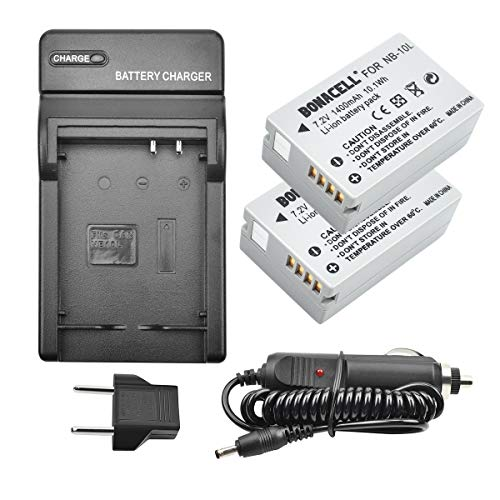 Bonacell NB-10L Battery and Charger Kit Compatible with Canon CB-2LC Charger and Canon PowerShot G1 X, G3 X, G15, G16, SX40 HS, SX50 HS, SX60 HS Digital Cameras(2 - Kit 2lc