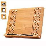 Bamboo Reading Rest Cookbook Stand Holder, Foldable Tablet Cook Book Stand Bookrest with Adjustable Backing & Retro Hollow Elegant Pattern, 9.4 x 13.4 x 1.7 inch