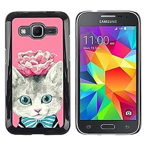 TopCaseStore / la caja del caucho duro de la cubierta de protección de la piel - Rose Kitty Kit Kitten Cat Eyes - Samsung Galaxy Core Prime SM-G360