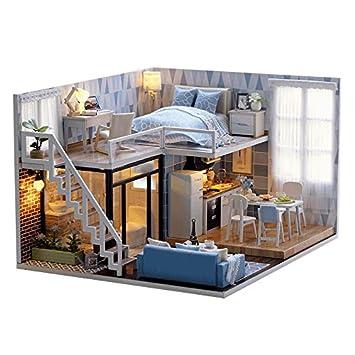 Casa de muñecas de madera hecha a mano con kit en miniatura, estilo dúplex con modelo de habitación y luz LED