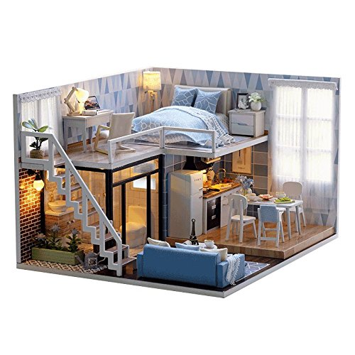 TAC STORE DIY House, DIY Wooden Dollhouse Kit - DIY Wooden Doll House - Novelty Girls Children Birthday Home Decorations Idea (B) -