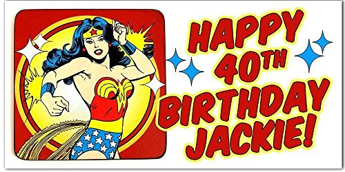 Personalized Wonder Woman Superheroes Birthday Banner Party Backdrop -