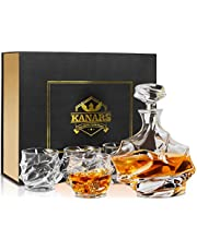 KANARS Whiskykaraff och Whiskyglas Set, 750 ml Blyfri Kristall Whisky Karaff med 4 × 320 ml Whisky Glas för Cognac, Martini, Cocktail, Bourbon, Tequila, Unik Snygg Presentask, Set med 5