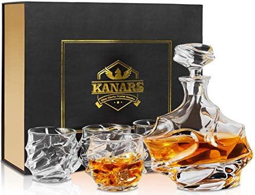 KANARS Whisky karaf en glazen set whisky karaf 750ml met 4×320ml glazen kristalglas whiskybeker hoogwaardige kwaliteit luxe cadeau 5delig