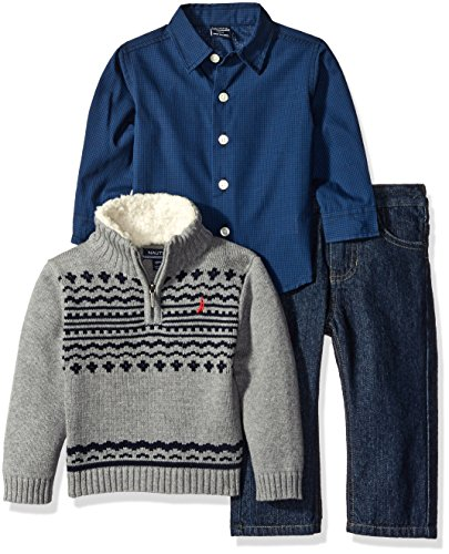 Nautica Baby Three Piece Set Woven Shirt, Quarter Zip with Sherpa Sweater, and Denim Jean, Medium Grey Heather, 12 (3 Piece Set Sweater Shirt)