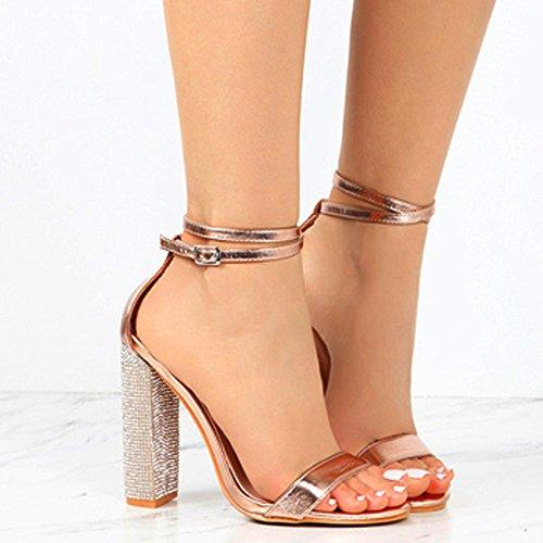 Tacco Scarpe Cintura Estate Glitter Sexy Oro con Sandalo Oro Dragon868 Donna Alto fwapdqwA