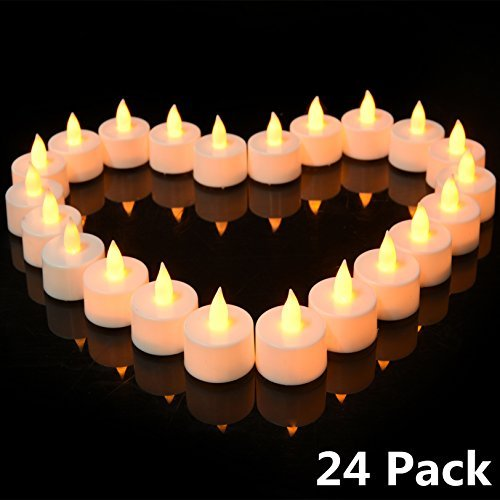 Flickering LED Tea Lights 24 Pack, Flameless LED Candles Set/Reusable Electric Tealights, Votive Pillar Candles for Party, Wedding, Birthday, Holiday & Home -