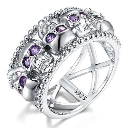 FENDINA Women's Skull CZ Band Style Rings 925 Sterling SIlver Plated Statement Cocktail Rings Purple (7)