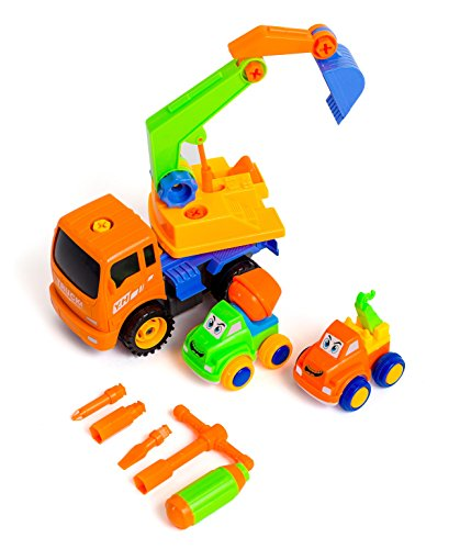 Friction Powered Take Apart Construction Truck Vehicle for Kids - Push and Go Toys for Toddlers, Boys, Girls - Educational Take-Apart Excavator Toy Trucks with Tools - Learning STEM Building Car Set