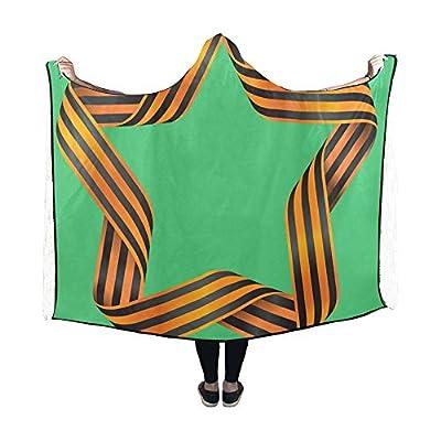 WUTMVING Hooded Blanket Ribbon Of Saint George Star Tape War Design Sign Blanket 60x50 Inch Comfotable Hooded Throw Wrap