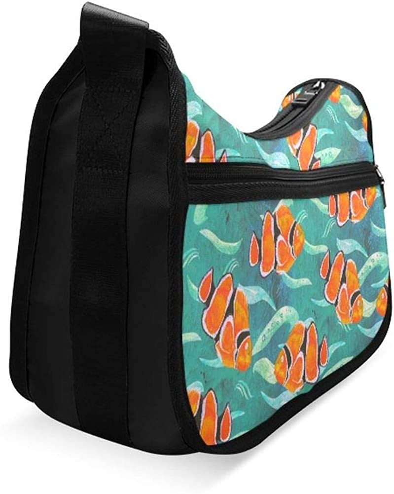 Clown Fish Jumping And Twisting In The Air Messenger Bag Crossbody Bag Large Durable Shoulder School Or Business Bag Oxford Fabric For Mens Womens