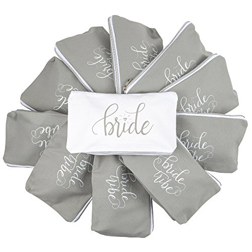 Bridal Bag - 11 PIECE SET of Grey Bride Tribe and Bride Canvas Makeup Bags for Bachelorette Parties, Weddings and Bridal Showers!