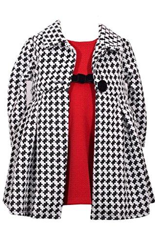 - Bonnie Jean Red Knit Dress and Herringbone Print Coat Set 24 Months