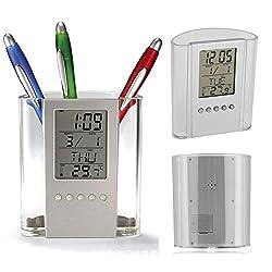 Digital Desk Pen Pencil Holder LCD Alarm Clock Thermometer Calendar Display Digital LCD Desk ALarm Clock for Home Office School (silver)