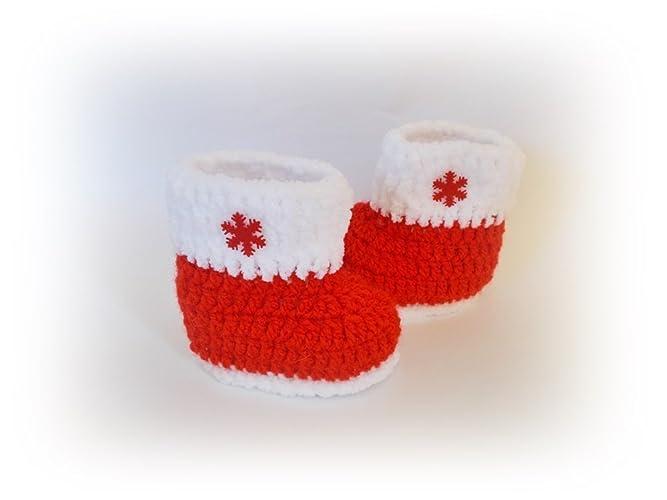 Amazon.com: Christmas baby boots Crochet Santa shoes: Handmade