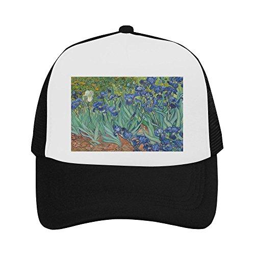 Irises In The Garden by Vincent Van Gogh Classic Vintage Mesh Trucker Cap Baseball Hat Black ()