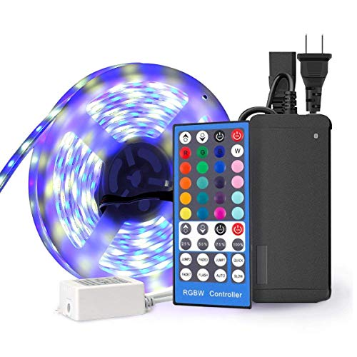 (SUPERNIGHT RGBW LED Strip - RGB + Cool White Waterproof IP67 with Silicone Cover Tube Protection, 16.4ft 5050 300leds Flexible Rope TV Lighting with 40Key IR Remote Controller and 12V Power Adapter)