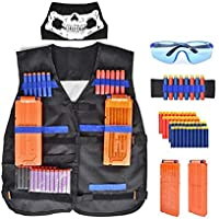 56 Pcs Tactical Vest Kit for Nerf 50Pcs Darts Bullets, 2Pcs 12-Dart Quick Reload Clips, 1Pcs 8-Dart Wrist Band, Seamless Face Mask, Goggle and Bullets Storage Bag