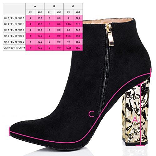 SPYLOVEBUY PANDA Mujer Tacón Bloque Botes Bajas Zapatos Negro - Gamuza Sintética