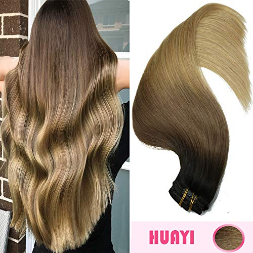 Big Sale Clip In Hair Extensions Human Hair Blond Ombre 20'' Dark Brown To Blonde Colorful Ombre 120g For Full Head NoTangle Silky Straight Balayage Hair (Ombre Hair Clip In Extensions For Sale)
